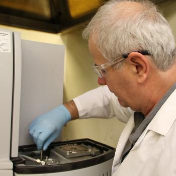 Dragan Miskovic maintaining nitrogen analyzer