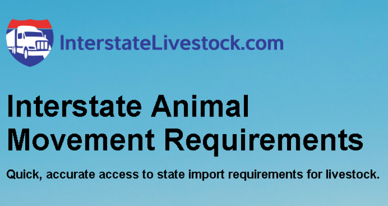 InterstateLivestock.com, Interstate Animal Movement Requirements
