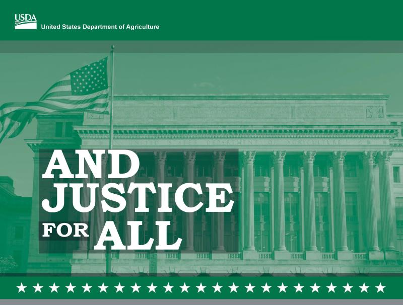 USDA Image of governmental buildings and the American flag with the words And Justice For All
