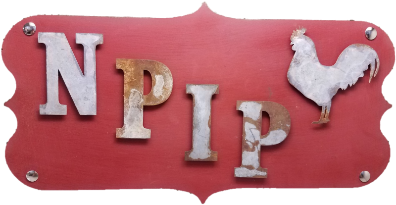 Sign reading NPIP with an outline of a chicken