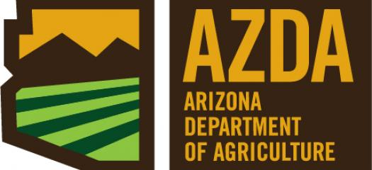 Logo for Arizona Department of Agriculture, Sun between mountians over a green field inside an outline of the State of Arizona