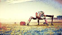 Drawing of robot harvesting a field